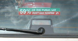 Fox hunting window sticker in a Volvo